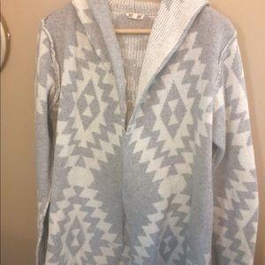 Sweaters - Cream and gray Aztec cardigan.